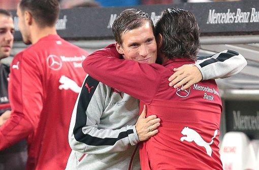 VfB-Coach Hannes Wolf freut sich über den Heimsieg. Foto: Pressefoto Baumann