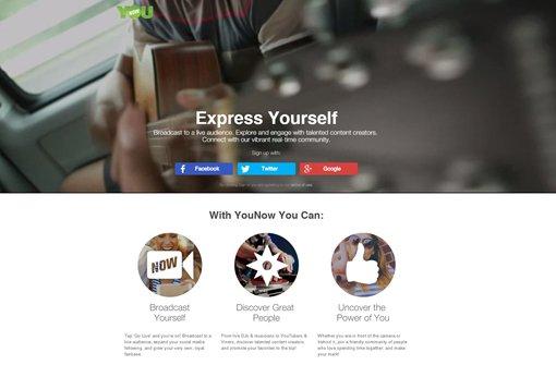 Die Startseite von Younow Foto: Screenshot