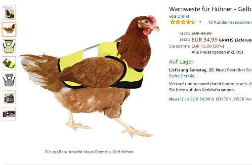 Warnwesten für Hühner und Pfefferspray fürs Steak