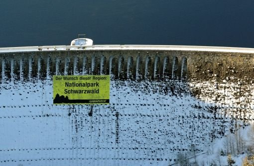 Mit einem Riesenbanner an der Schwarzenbach-Talsperre bei Forbach im Kreis Rastatt hat sich Greenpeace für einen Nationalpark im Schwarzwald stark gemacht. Foto: dpa