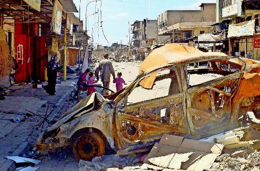 Viele Bezirke der ehemaligen Millionenstadt Mossul im Nordirak bieten nach dem Kampf gegen die Terrormiliz IS nur noch ein Bild der Verwüstung Foto: Becker