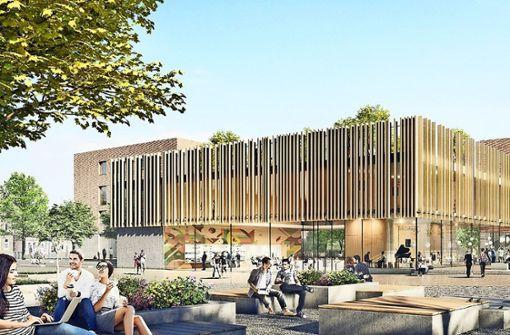 So ähnlich könnte  es auf  dem Campusgelände einmal  aussehen. Der Siegerentwurf weist viele Außenräume  für Schüler auf. Foto: Hermann Architekten/White Arkitekter/W+P Landschaftsarchitekten