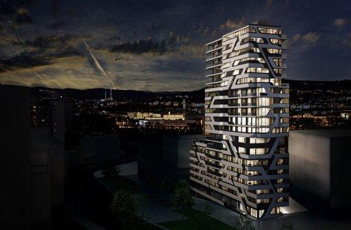 Im Hochhaus   Wolke Nummer 7 sollen auch ein Steigenberger-Hotel und zahlreiche Luxuswohnungen Platz finden.   Inzwischen konnten  bereits vier  Wohnungen verkauft werden. Foto: Visualisierungen: Aldinger & Wolf