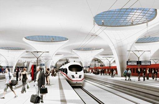Wie schnell ist die Rettung aus dem zukünftigen Stuttgart-21-Bahnhof möglich? Ein aktuelles Gutachten im Auftrag der Bahn kritisiert zu lange Evakuierungszeiten. Foto: Visualisierung Aldinger & Wolf