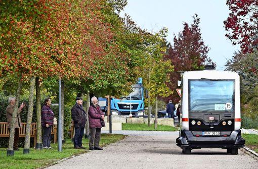 Ein selbst fahrender Bus am Engelberg