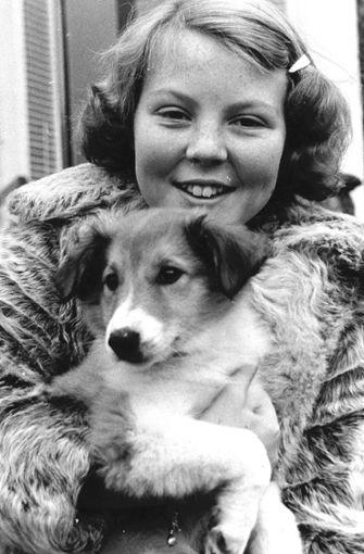 Die Hundeliebe liegt in der Familie: Auch Willem-Alexanders Mutter, bPrinzessin Beatrix/b (hier ein Bild aus Kindertagen), hatte immer vierbeinige Begleiter um sich. Foto: dpa