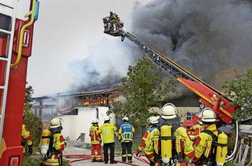 Fünf Verletzte bei Großbrand auf Bauernhof