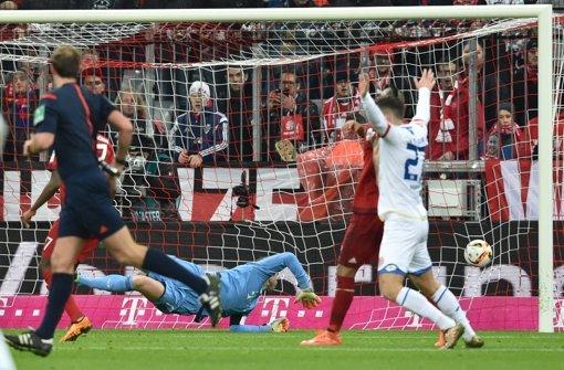 Das 2:1 für den FSV Mainz gegen Bayern München. Foto: dpa