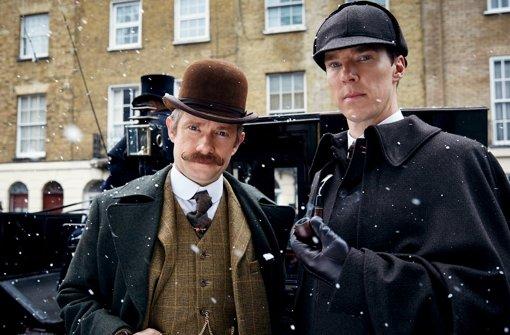 """Ein Special der BBC-Reihe """"Sherlock"""" führt Sherlock Holmes (Benedict Cumberbatch, r.) und Watson (Martin Freeman) in das Jahr 1895. Foto: ARD Degeto / Programmplanung und Presse"""