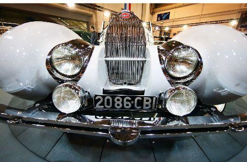 Auf der Techno-Classica in Essen ist auch ein Bugatti Typ 57c Gangloff Roadster zu sehen. Die Schau gilt als größte Oldtimer-Messe der Welt. Foto: Getty Images Europe