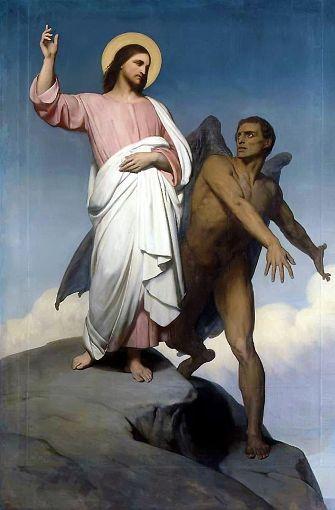 """Freitag, der 13.: mit dem Teufel im Bunde? Jahr für Jahr muss man sich auf ihn einstellen. Mindestens einmal ist ein Freitag, der 13., ganz sicher dabei – höchstens jedoch dreimal. 2017 sind es zwei, 2018 dann im April und Juli. Im Volksmund wird die 13 auch """"das Dutzend des Teufels"""" genannt (Die Versuchung Christi, Gemälde von Ary Scheffer, 1854). Foto: Wikipedia commons"""