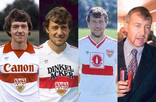 Von links: Karl Allgöwer in den Jahren 1980, 1984, 1987 und 1999. Klicken Sie sich durch unsere Bildergalerie der ehemaligen VfB-Spieler. Foto: Pressefoto Baumann/SIR-Montage