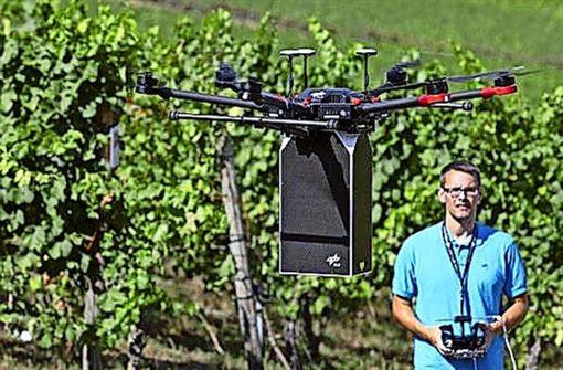 Die Drohne beim ersten Flugtest  über den Weinbergen Foto: privat