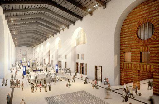 Die Kopfbahnsteighalle erhält Öffnungen zur Verteilerebene in den Tiefbahnhof. Foto: plan b, Stuttgart