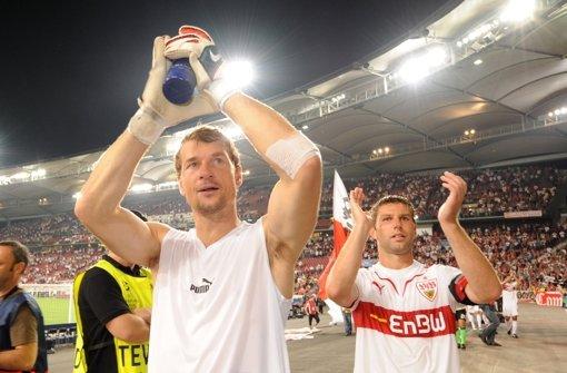 Jens Lehmann und Thomas Hitzlsperger haben beim VfB Stuttgart sowie in der deutschen Nationalmannschaft zusammen gespielt. Foto: dpa