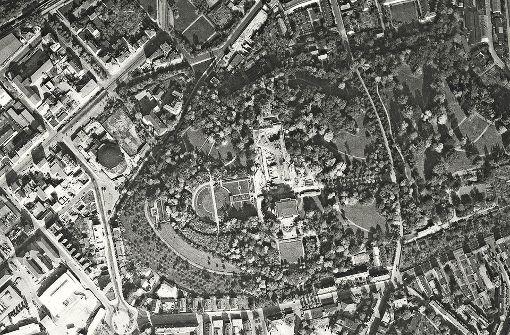So sah der Bereich rund um die Villa Berg (Bidlmitte) im Jahr 1955 aus. Foto: Stadtmessungsamt Stuttgart