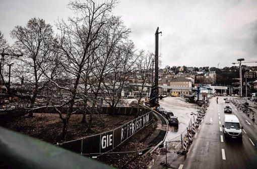 Am Rand des Schlossgartens sollen zwei der von Bauzäunen umgebenen Platanen gefällt werden. Foto: Lichtgut/Leif Piechowski