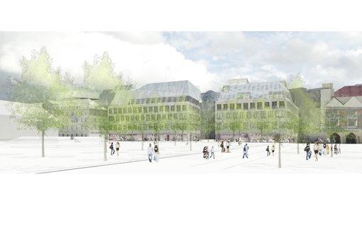 In der Mitte zwei Neubauten - ganz links das ehemalige Hotel Silber, ... Foto: Breuninger/Behnisch Architekten