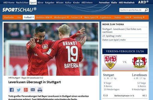 """Die """"Sportschau""""-Redaktion schreibt: """"Durch die Niederlage haben sich für den VfB alle Träume von Europa erledigt, stattdessen ist bei nur fünf Punkten Vorsprung auf Platz 17 Abstiegskampf angesagt."""" Foto: Screenshot"""