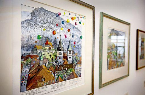 """""""Den Seiltänzer"""" hat Thomas Naegele für seinen Vater gemalt, das Werk erzählt vom Leben Reinhold Nägeles. Foto: Jan Potente"""