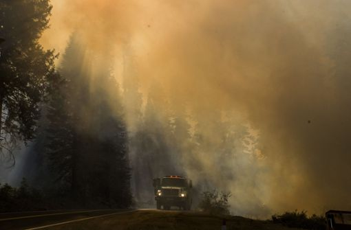 Ein Feuerwehrauto wird während eines Waldbrandes in Rauchwolken gehüllt.  Foto: dpa