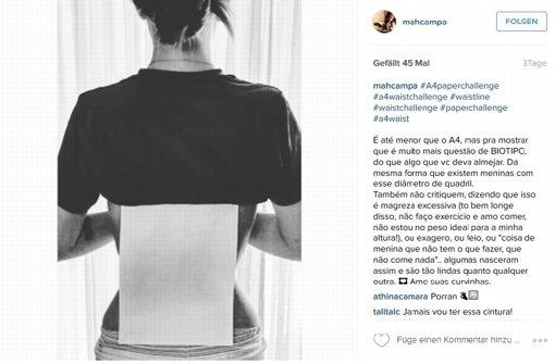 """Ein Foto auf dem sozialen Netzwerk Instagram zeigte eine Teilnehmerin der sogenannten """"A4-Waist-Challenge"""". Foto: Screenshot Instagram/mahcampa"""