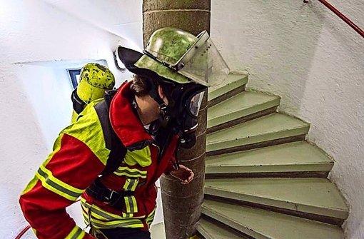 Feuerwehrmann gewinnt den Treppenlauf