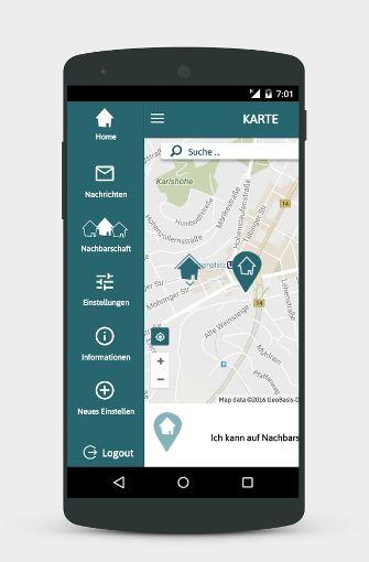 """Anschließend sieht der Nutzer auf einer Umgebungskarte seine Nachbarn und weiß so, wer etwas sucht oder etwas braucht. Foto:  Foto: App """"Deine Straße"""""""