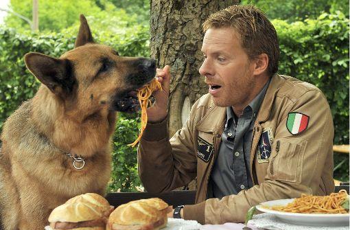 """Früher gab es nur Fernsehen mit Hunden, wie die beliebte Serie """"Kommissar Rex"""" (mit Rex und Kaspar Capparoni, v. li.). Nun gibt es auch Fernseh- und Radioangebote speziell für Hunde. Foto: dpa"""