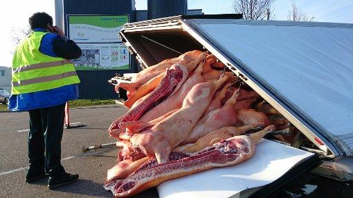 ... und hat dabei seine Ladung verloren: Schweinehälften.  Foto: Fotoagentur Stuttgart