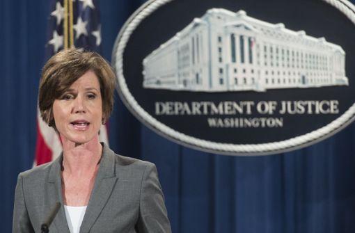 Nach nur zehn Tagen im Amt wurde Justizministerin Sally Yates am 30. Januar 2017 entlassen. Foto: AFP