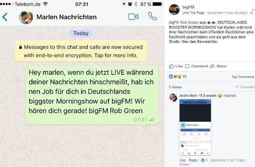 Vermeintlicher Beleg: Auch auf Facebook tut bigFM so, als sei die Abwerbeaktion seiner neuen Kollegin Gröger von Dasding live gewesen. Foto: Screenshot/Facebook