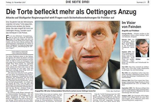 Günther Oettinger wurde 2007 bei einer Rede mit einer Schwarzwälder-Kirschtorte beworfen Foto: StN