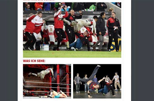 Manche Fans des VfB Stuttgart animiert der Jubel-Sturz von Daniel Didavi und Jürgen Kramny zu einer verrückten Bildfolge.  Foto: Twitter-Screenshot von: https://twitter.com/Aleksch1893