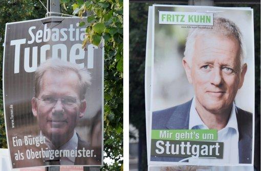 Einer Umfrage zufolge liegt  der Grüne in Stuttgart vor dem parteilosen Werbeprofi. Foto: dpa