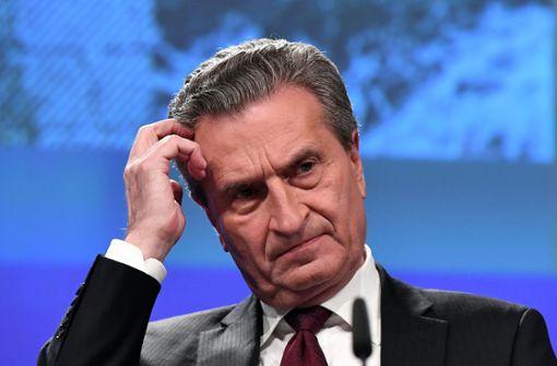 EU-Haushaltskommissar Günther Oettinger rechnet mit hohen Milliardenkosten für einen besseren Schutz der EU vor illegaler Migration. Foto: AFP