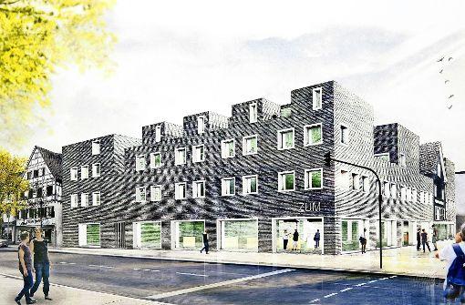 Das Zentrum Untere Marktstraße soll östlich der Kreissparkasse gebaut werden. Foto: Rudel