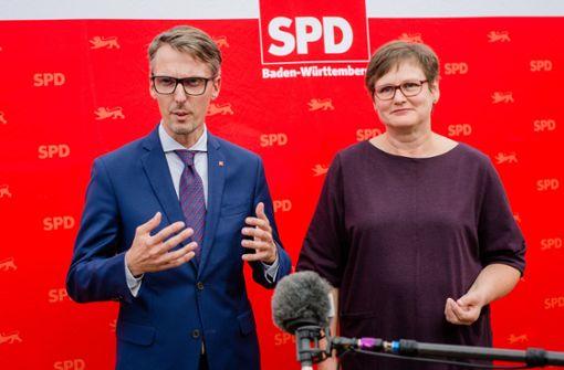 Treten nun gegeneinander an: Landesvize Lars Castellucci und die Landesvorsitzende Leni Breymaier. Foto: dpa