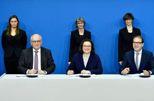 Volker Kauder (links), Andrea Nahles und Alexander Dobrindt Foto: AFP