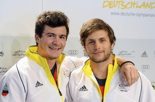 Die deutschen Starter im Snowboardcross: Paul Berg (links) and Konstantin Schad Foto: dpa