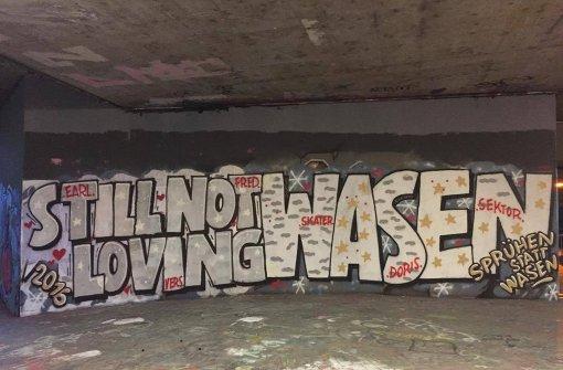 Wasen-Gegner entschärfen Graffiti