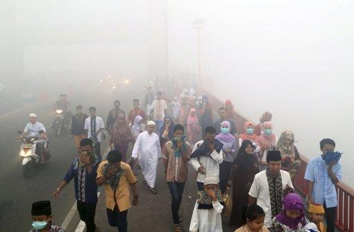 Der Qualm aus Indonesien, in der Region unter dem Begriff Haze bekannt, zieht bis in den Süden Thailands, nach Malaysia und Singapur. Foto: AP
