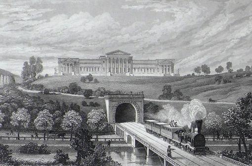 b1850/b: Stolz präsentiert ein Stahlstich das Königliche Landhaus Rosenstein in Verbindung mit dem Eisenbahntunnel Foto: Stadtarchiv Stuttgart