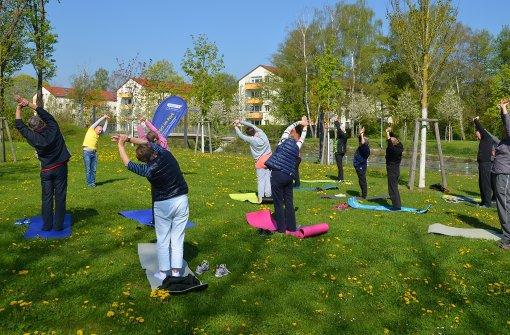 Eine Yogastunde im Grünen