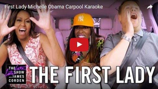 First Lady im Carpool mit James Corden