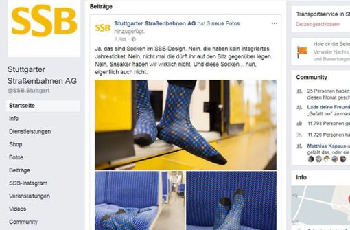 Alles nur ein Gag: auf Facebook kündigen die SSB an, Socken herausbringen zu wollen. Foto: SSB / Screenshot: STZN