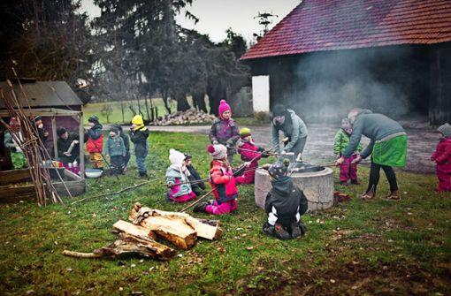 Kinder wachsen  auf dem Bauernhof auf