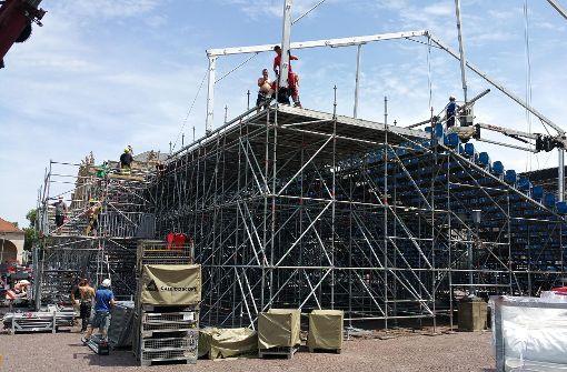 So läuft der Aufbau auf dem Schlossplatz