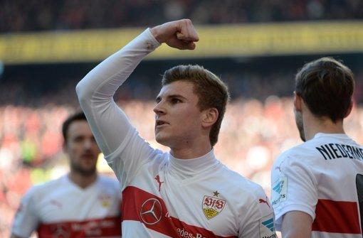 Timo Werner jubelt im VfB-Trikot – so wird es auch bleiben Foto: dpa