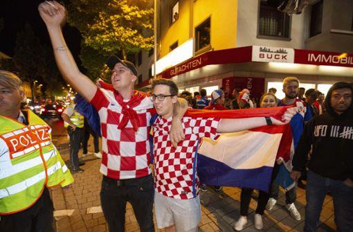 Nach dem Spiel gab es für die Kroaten kein Halten mehr.  Foto: Michael Steinert